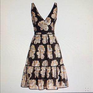 J. Crew  V-neck Dress Metallic Silk Foulard